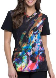 Floral Spectrum V-Neck Print Top