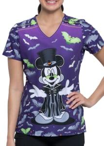 Mickey Mouse Vamp V-Neck Print Top