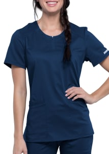 Cherokee Workwear Revolution Zip Neckline Scrub Top