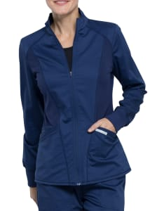 Cherokee Workwear Revolution Mesh Detail Zip Front Scrub Jacket