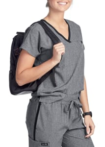 Koi Basics Janet Contrast Stripe V-Neck Scrub Top