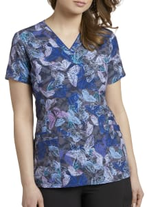 Sapphire Flutter V-Neck Print Top