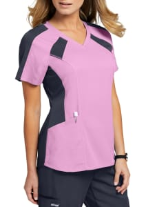 Grey's Anatomy Spandex Stretch 3 Pocket Raglan Color Block Scrub Top