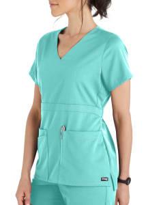 Grey's Anatomy Spandex Stretch 3 Pocket Empire Waist Scrub Top