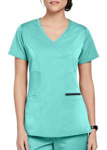 Grey's Anatomy Spandex Stretch Kim Surplice 3 Pocket Scrub Top