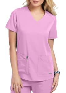 Grey's Anatomy Spandex Stretch Emma 4 Pocket V-Neck Scrubs Top