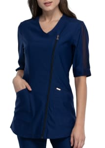 Form by Cherokee Asymetrical Zip Front Scrub Top