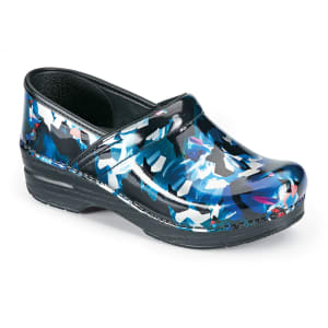 Graphic Floral Patent Nursing Clogs