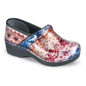 Metallic Tie Dye Patent Nursing Clogs