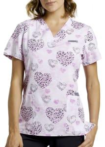 Sweet Dotty Hearts V-Neck Print Top