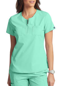 Peaches By Med Couture Double Pocket Zip Neck Scrub Top