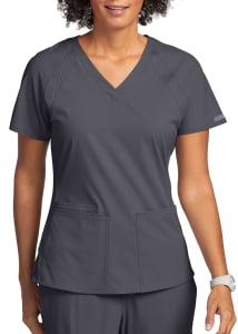 Peaches By Med Couture Raglan 3 Pocket Scrub Top