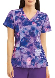 Stormy Floral V-Neck Print Top
