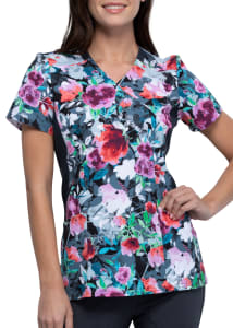 Brushing Bouquets Mock Wrap Print Top