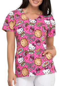Hello Kitty Kawaii Burger V-Neck Print Top