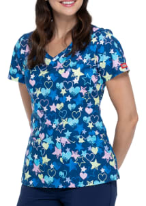 Starry Eyed Love V-Neck Print Top
