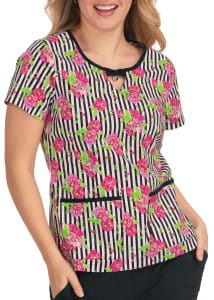 Flowers and Stripes Print Top