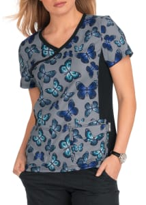 Stained Glass Butterfly Crossover Print Top