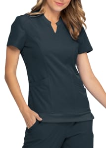 HeartSoul Curved Hem Notch Neck Scrub Top
