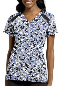 Geo Trellis V-Neck Print Top