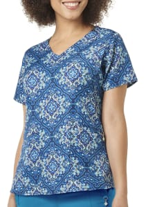 Regal Rosette Navy V-Neck Print Top
