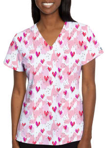 Happy Heart V-Neck Print Top