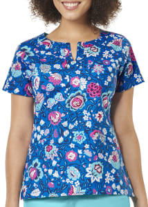 Bloom Berry Royal Notch Neck Print Top