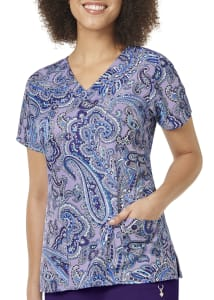 Deep Night Paisley V-Neck Print Top