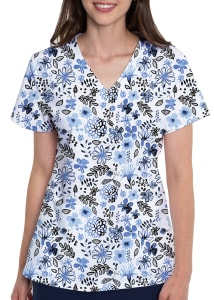 Indigo Floral V-Neck Print Top