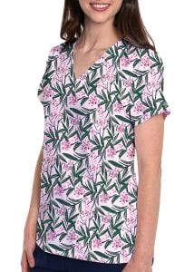 Tropical Palm V-Neck Print Top