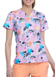 Hedgehugs And Kisses V-Neck Print Top
