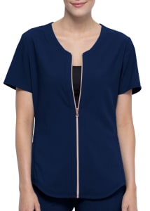 Statement By Cherokee Front Zip Two-Pocket Scrub Top