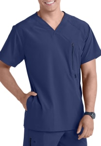 Barco One Men's 4 Pocket V-Neck Scrub Top