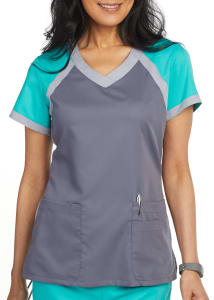 Grey's Anatomy 3 Pocket Color Block V-Neck Scrub Top