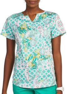 Medallion Safari Mock Wrap Print Top