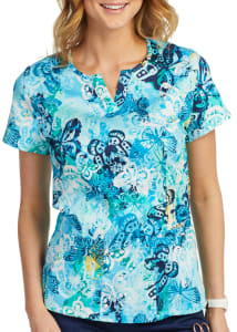 Butterfly Blues Notch Neck Print Top