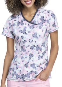 Infinity By Cherokee Let's Go Places Mock Wrap Print Scrub Top