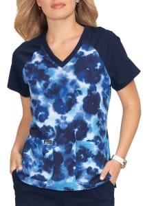Cheetah Tie Dye Electric Blue V-Neck Print Top