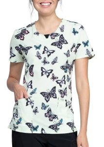 Infinity By Cherokee Let's Fly Print Scrub Top