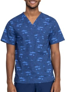 Cherokee Men's Stay In School V-Neck Print Scrub Top