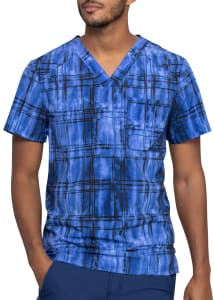 Infinity By Cherokee Plaid Tie Dye Men's V-Neck Print Scrub Top