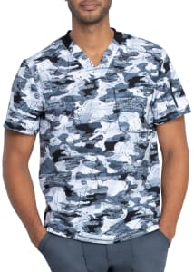 Dickies Dynamix Men's Stone Cold Camo Pewter V-Neck Print Scrub Top