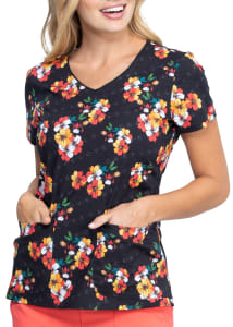 Dickies EDS Caring Clusters V-Neck Print Scrub Top