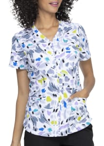 ELLE A Brush Of Color Zip Front Print Scrub Top