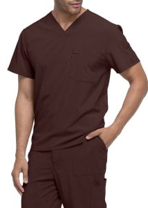 Chest Pocket V-Neck Top with Pen Slot