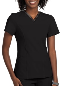3 Pocket Sheer Stripe V-Neck Top