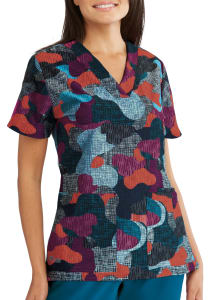 Tide Pools V-Neck Print Scrub Top