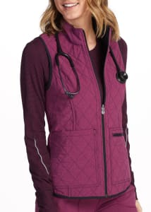 Infinity By Cherokee Mock Neck Reversible Quilted Scrub Vest