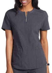 Infinity By Cherokee Limited Edition Mixed Metal Zip Front Scrub Top