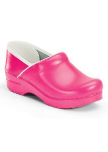 Pink Neon Leather Nursing Clogs